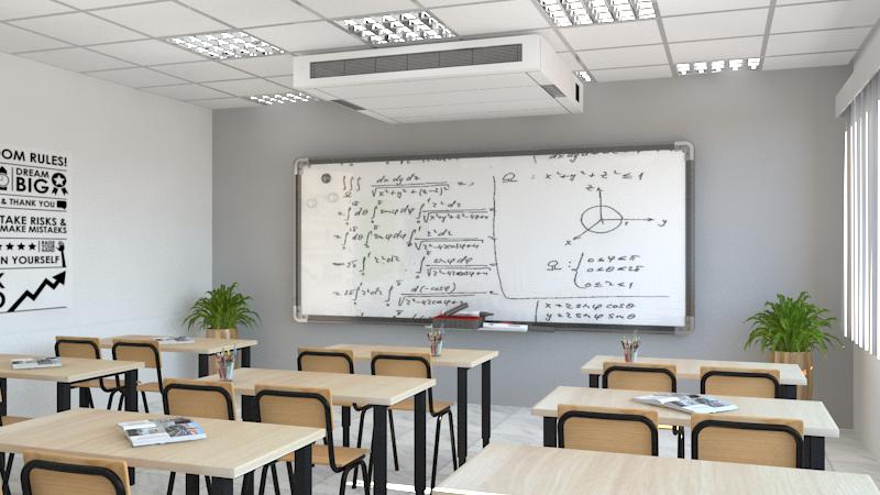 Een decentrale balansventilatie-unit met warmtewisselaar voor klaslokalen